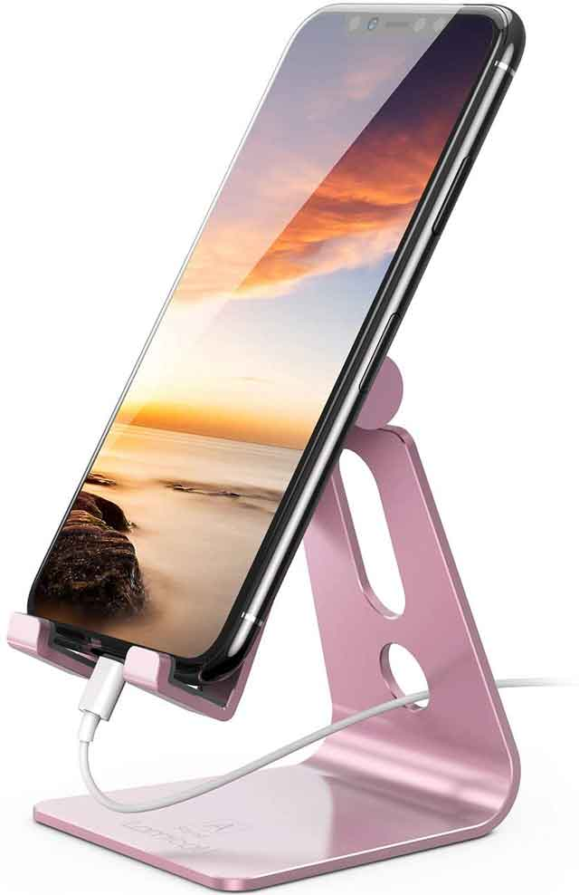 Lamicall Phone Adjustable Cell Phone Stand iPhone 12 accessories and charger you can buy now vdiscovery arvinovoyage