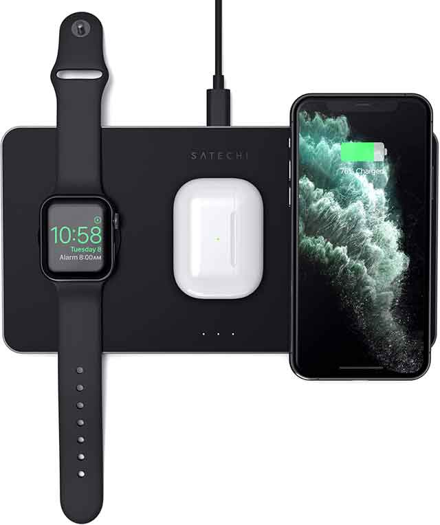 Satechi Trio Wireless Charging Pad Station iPhone 12 accessories and charger you can buy now vdiscovery arvinovoyage,jpg