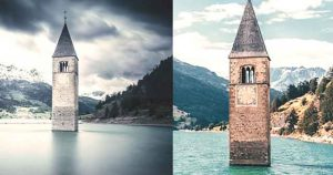 Most Famous CURON Lost Village Emerges Seventy Years from Italian Lake