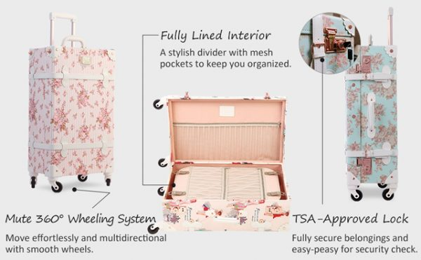 unitravel floral pink suitcase set 20 inch vintage tsa approved luggage with 12 inch women cute handbag arvinovoyage
